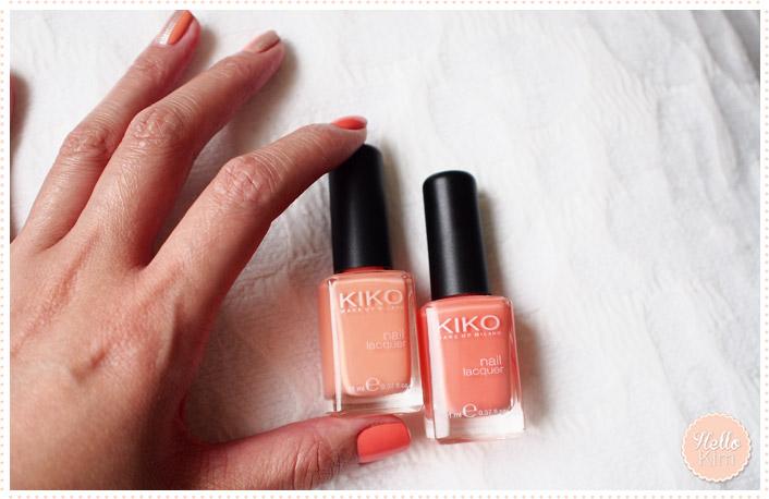 Vernis corail Kiko / Corail Kiko nail polishes