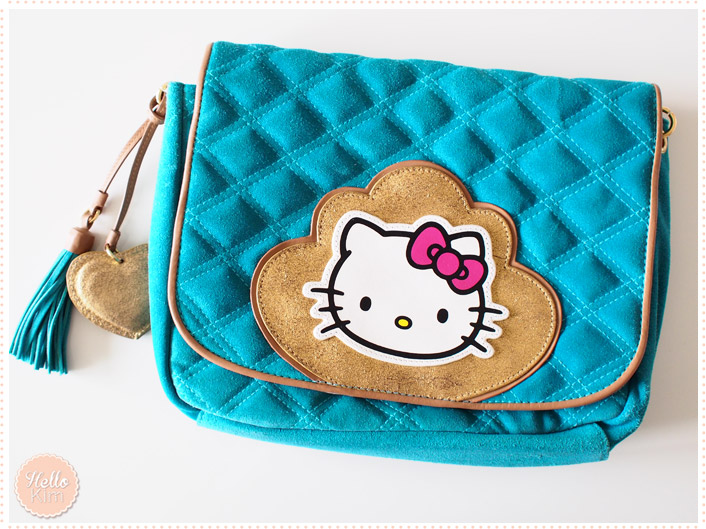 Sac hello Kitty by Victoria Couture en cuir turquoise - vue face >> HelloKim