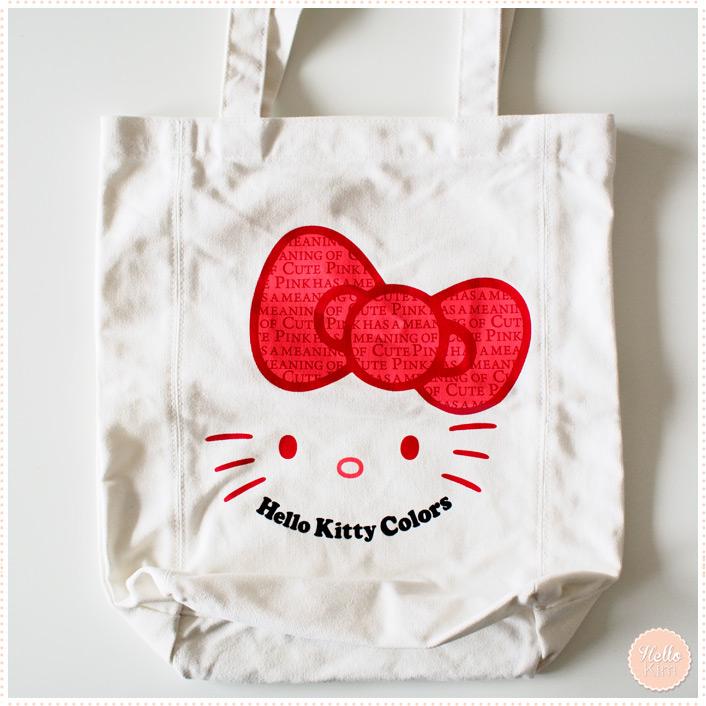 Sac en toile Hello Kitty blanc et motifs rouges - Vue face >> HelloKim