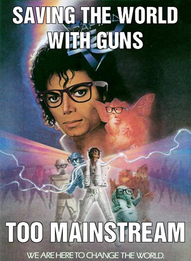 Michael Jackson stops evil in space by dancing in Captain Eo.