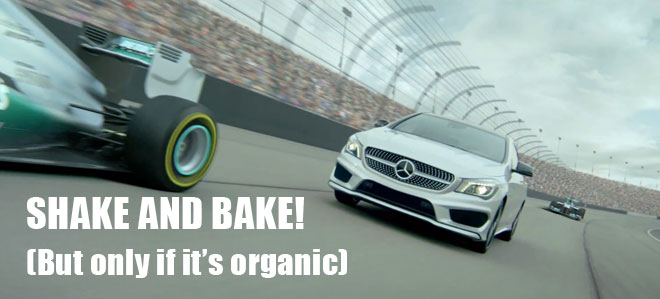 Formula 1 racing in the Mercedes Benz Soul ad Superbowl.