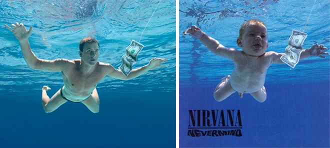 Ryan Lochte's Nevermind cover next to the the original by Nirvana with the baby.