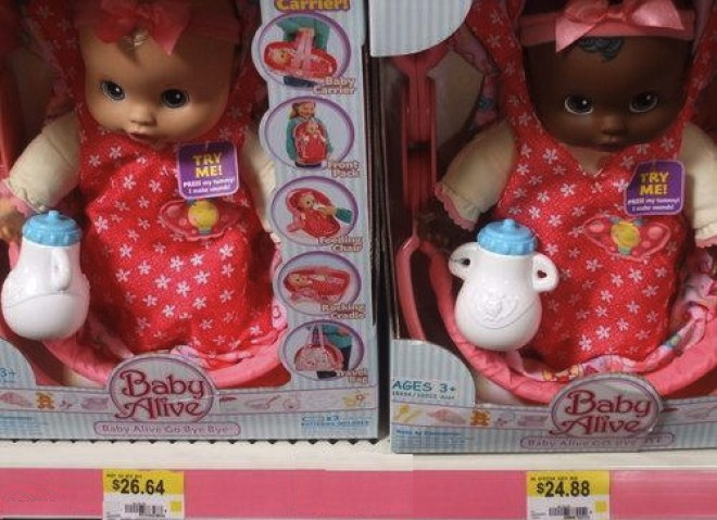 The two Baby Alive dolls next to each other are different prices. The black one is less. Accidental Racist.