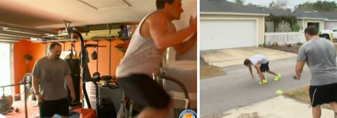 Ryan Lochte's strength trainer Matt trains Lochte out of his garage on WWRLD.