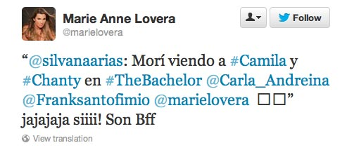 Bachelor Juan Pablo's ex-wife Carla Rodriquez tweets during the Bachelor premier.