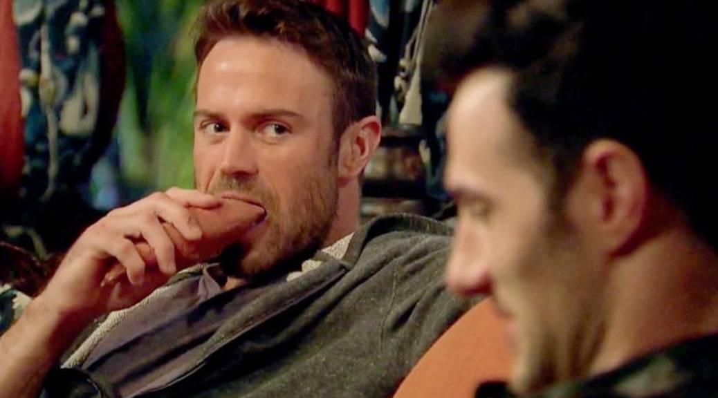 Chad talks to Daniel as he eats a raw yam sweet potato on JoJo Bachelorette.