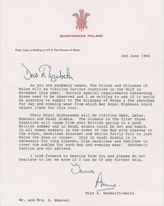 Never-before-seen palace letter reveals strict wardrobe rules