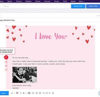 Valentine's Day-themed features in Yahoo Mail and Yahoo Messenger 2
