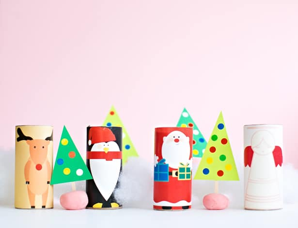 CHRISTMAS PAPER TUBE CHARACTERS WITH FREE PRINTABLE TEMLATES