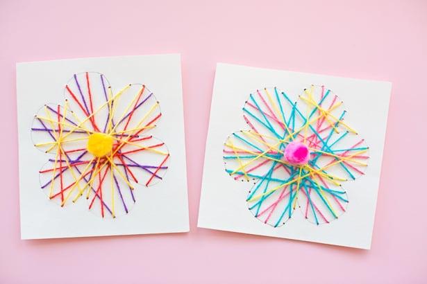 KID-MADE DIY STRING ART FLOWER CARDS