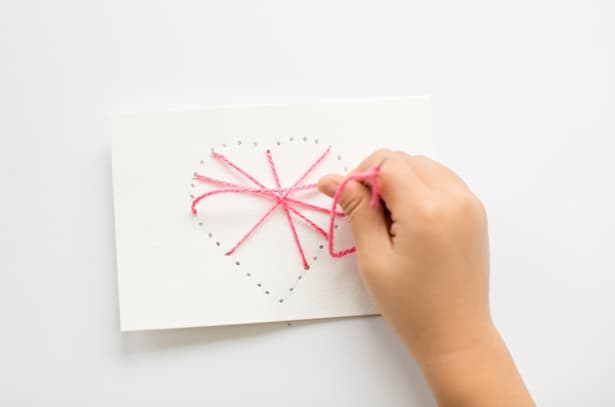 Make String Heart Yarn Cards