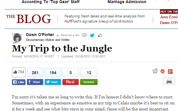 Dawn's Huffington Post article - 'My Trip to the Jungle'