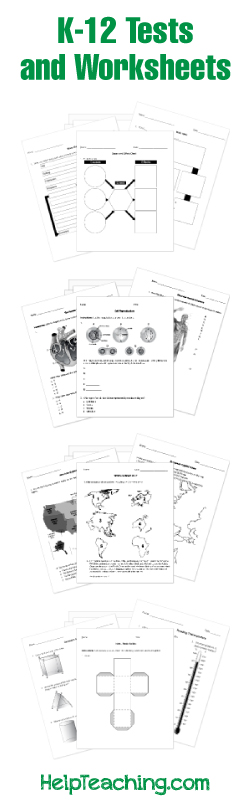 Free Tests, Quizzes and Worksheets for Print or Online Use Pre-K