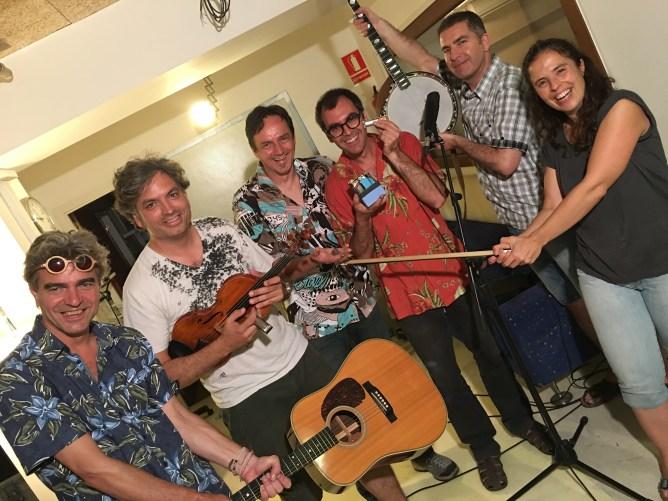 Lluís Gómez recording session, Barcelona 2016. L-R: Josep Traver, Oriol Sana, HN, Lluís Gómez, Joan-Pau Cumellias, Maribel Rivero