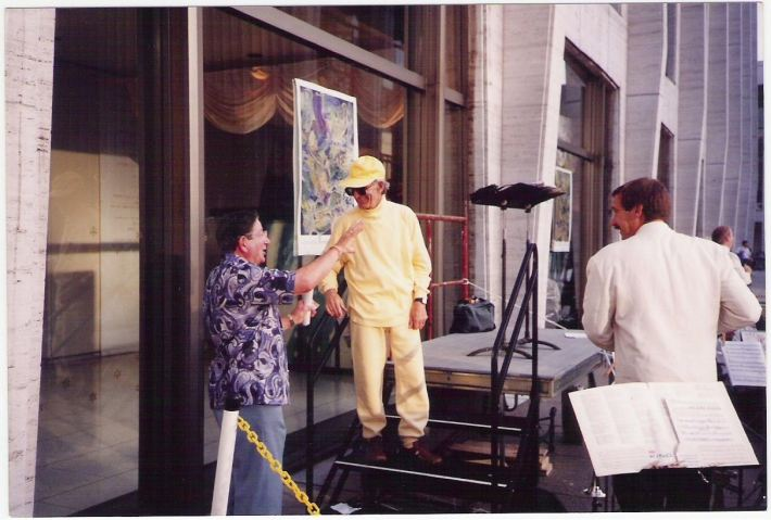 Henry Brant with Teo Macero at the Lincoln Center premiere of 500 - Hidden Hemisphere 1992
