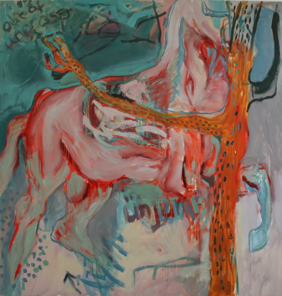 Out Of Ungrasp, In UnjumpOil on canvas. 135cm x 140cm.