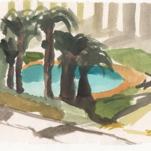 Palms Study. Watercolour on paper.