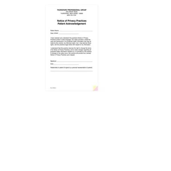 Form HIPAA HIPAA Practice Acknowledgement 3 Part 5Pads/Pk - hipaa form