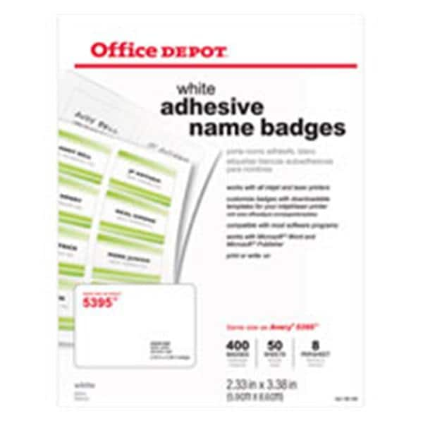 Office Depot Brand Name Badges White 400/Pack 400/Pk