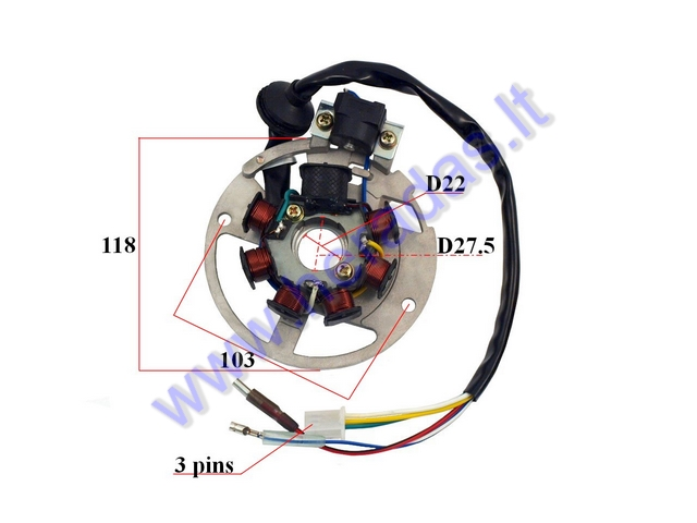 Magneto/stator with rotor for scooter 1PE40QMB, Minarelli 3KJ JOG 5 wire