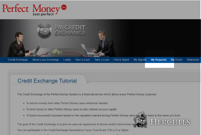 Where can I manage my requests to borrow/lend money on Perfect