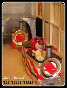 Cardboard box train and tunnel