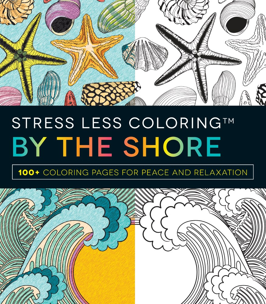 Stress less coloring by the shore