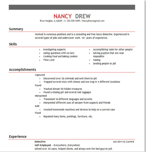 Nancy\u0027s Resume (2014) - Her Interactive - write up a resumes