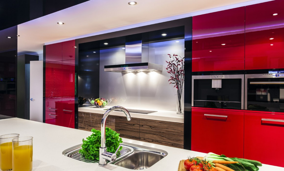 contemporary contemporary kitchen cabinets Gloss Dark Red