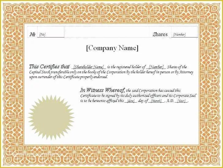Free Stock Certificate Template Microsoft Word Of Free Stock