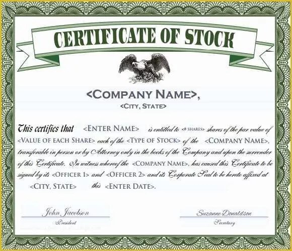 Free Stock Certificate Template Microsoft Word Of Stock Certificate