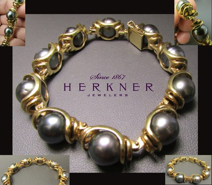14k Yellow Gold and Tahitian Pearl Bracelet