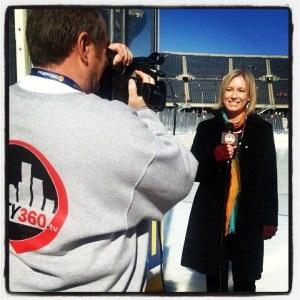 Reporting rink side with City360TV.