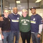 Left-Right: AFL-CIO leader in New York, Vinny Alverez;  AFL-CIO Washington Director, Randy Kinder (Notre Dame  class of 1997); Joe Delaney, ND Club of SI; Marcus Wilson,  Notre Dame class of 2005