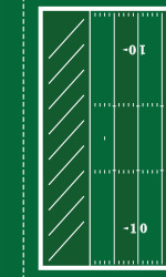 The new FieldTurf will keep the traditional lines in the endzone. Photo credit: UND.com