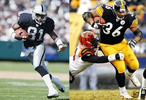 Tim Brown and Jerome Bettis