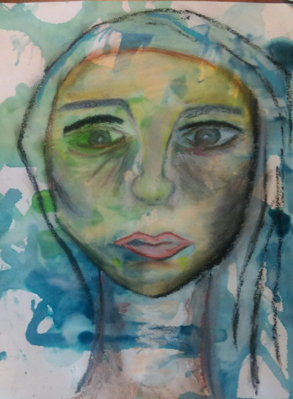 face of a woman, drawn with pencil, crayon, acrylics, blue and green backgrounds.