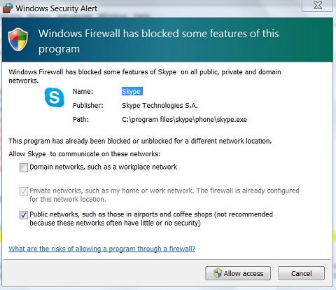 Windows 7 Firewall Alert on Blocked Connection