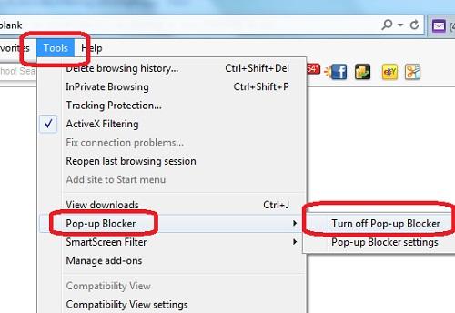 Enabling Pop-up Blocker