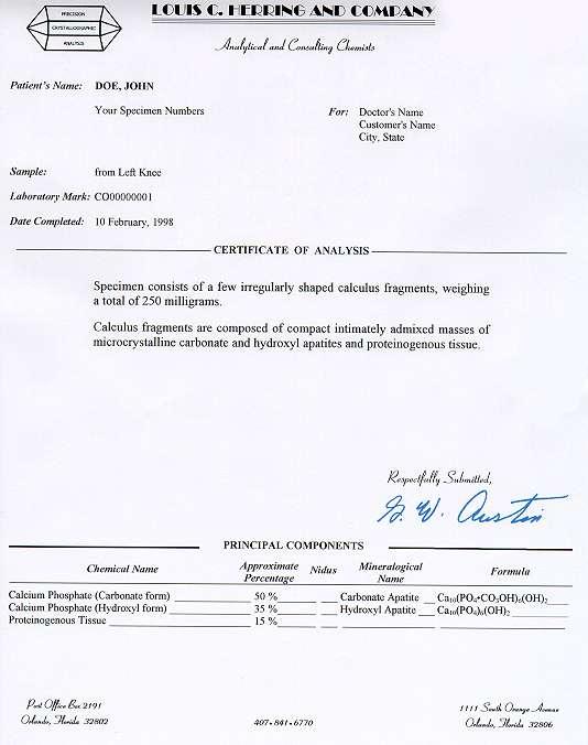 Louis C Herring  Co Sample Report - sample analysis report