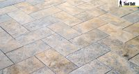 Silver Travertine Tile Herringbone Floor Tutorial
