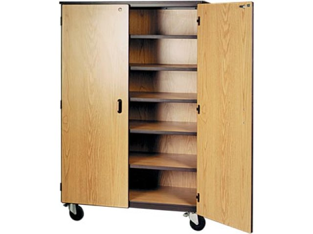 Mobile Storage Cabinet 5 Shelves Locking Doors 72quoth