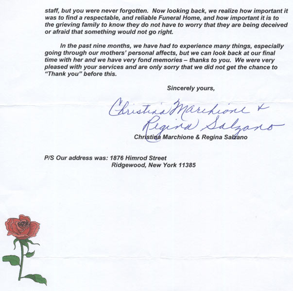 letter from funeral home - Goalgoodwinmetals