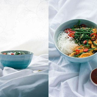 Chilli and ginger chicken samphire with rice noodles-diptych