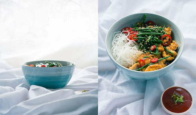 Maths | Chilli and ginger chicken + samphire with rice noodles