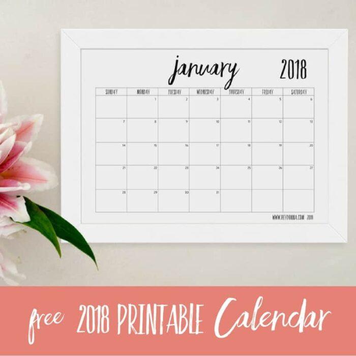 FREE 2018 Printable Calendar - Hey Donna