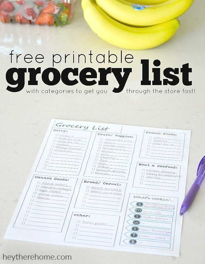 Free Printable Grocery List and Meal Planner Organization Tips - printable grocery lists template