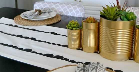 Diy Scallop Stamped Table Runner