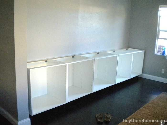 Diy Built In Using Ikea Cabinets And Shelves