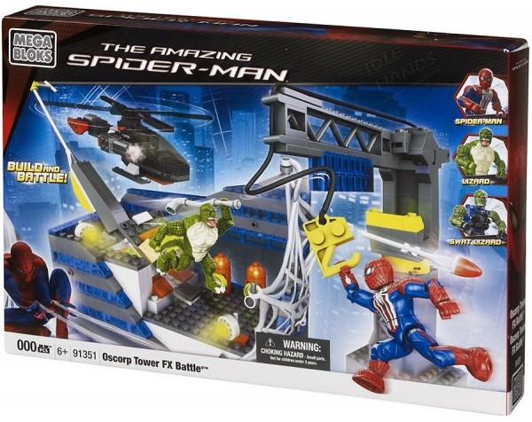 amazing spider man toy mega blocks oscorp tower battle 600x476 Searching for Spoilers with Mega Bloks Release of The Amazing Spider Man Toys